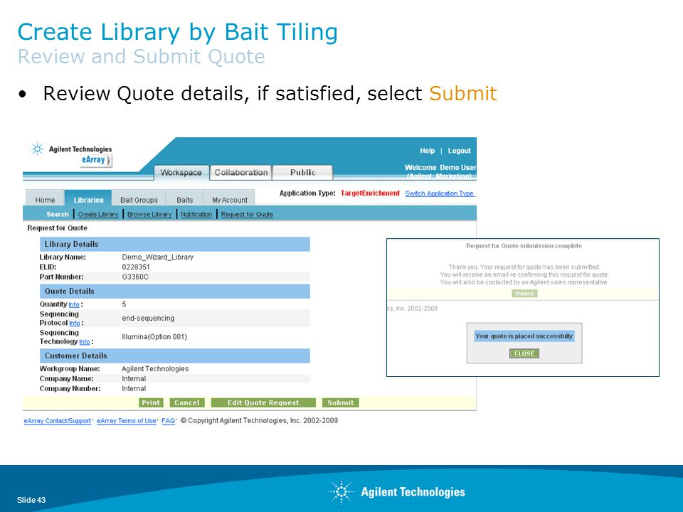 Create Library by Bait Tiling Review and Submit Quote