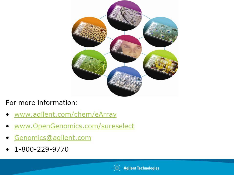 For more information: www.agilent.com/chem/eArray. www.OpenGenomics.com/sureselect. Genomics@agilent.com.