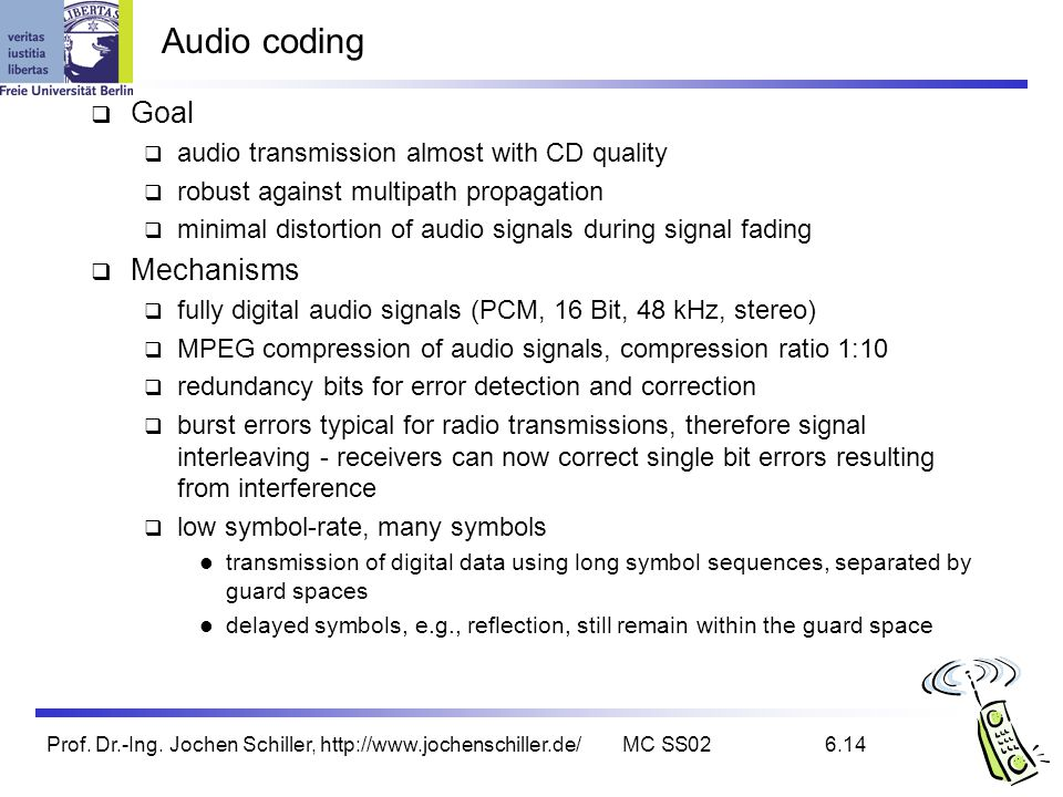 Audio coding Goal Mechanisms audio transmission almost with CD quality