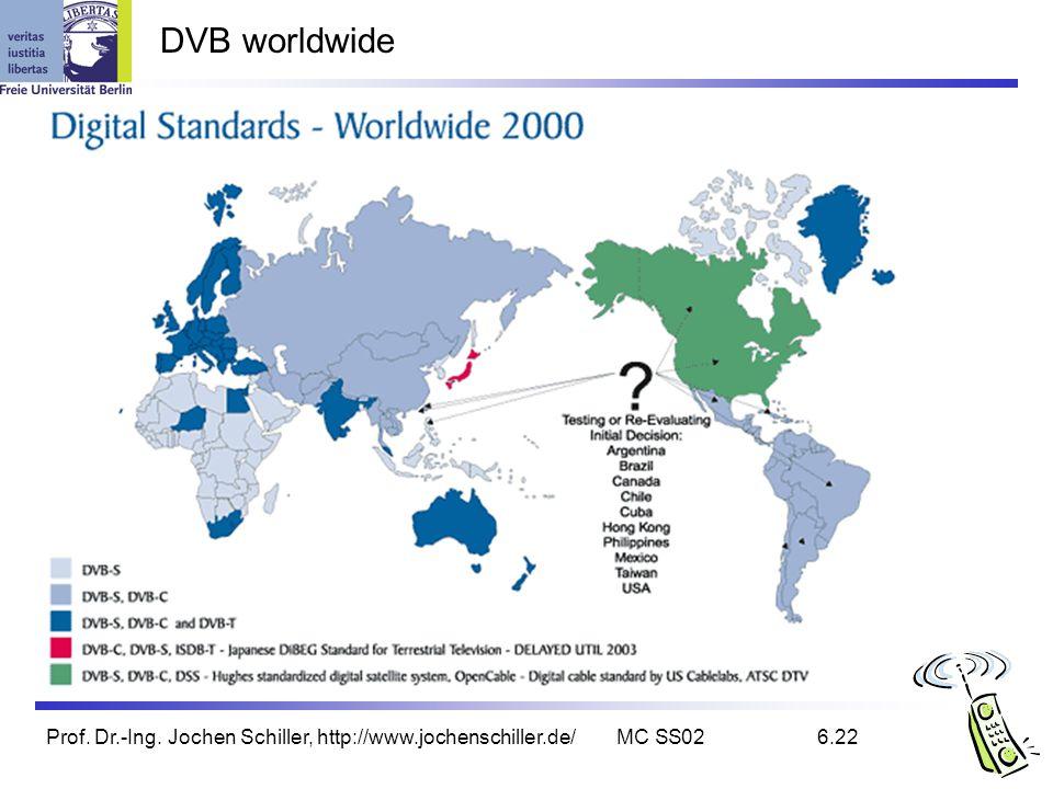 DVB worldwide Prof. Dr.-Ing. Jochen Schiller, http://www.jochenschiller.de/ MC SS02 6.22