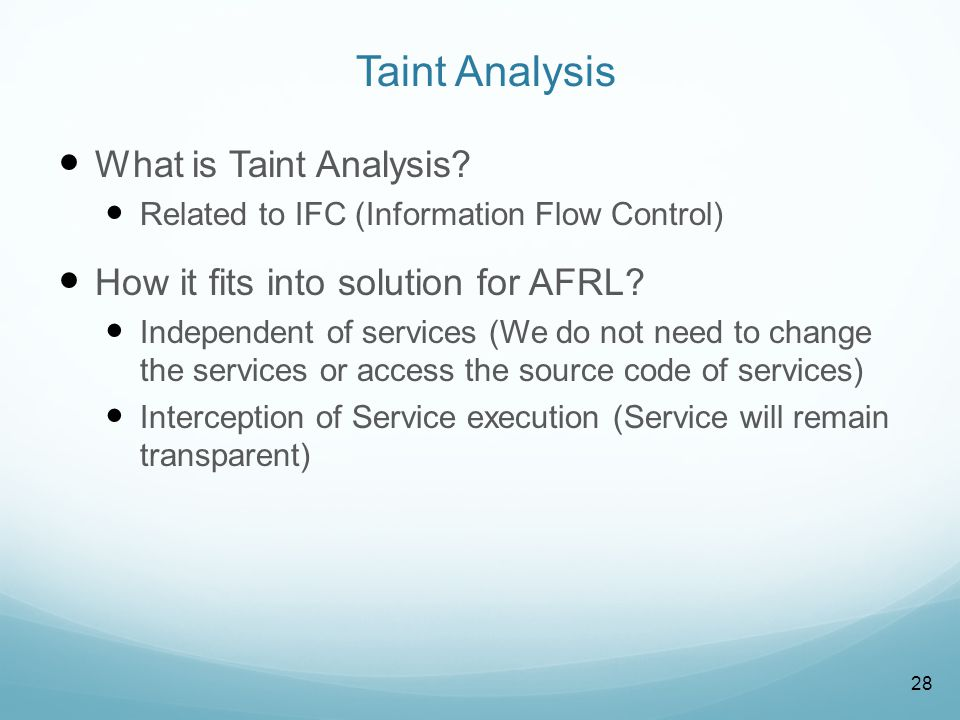 Taint Analysis Using AOP (Aspect Oriented Programming) How it works