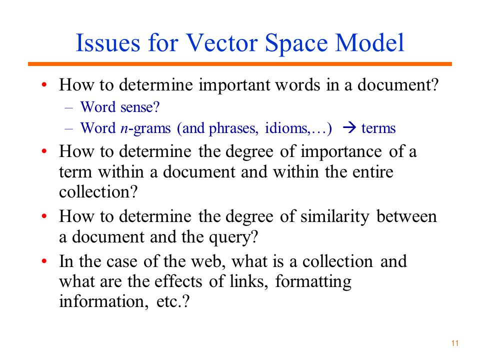 Issues for Vector Space Model