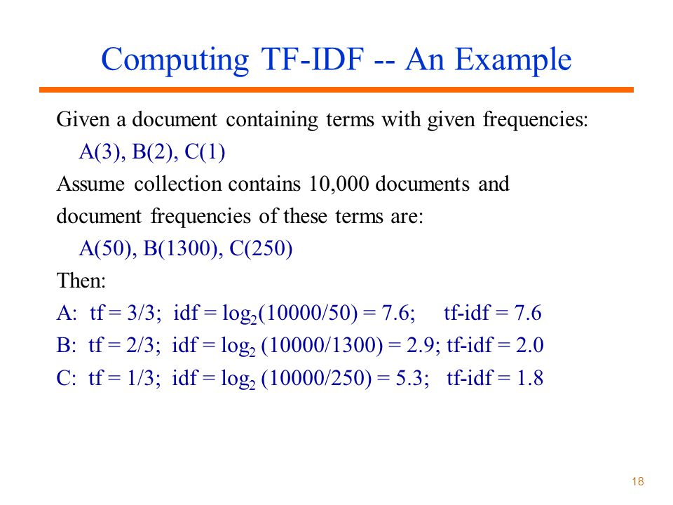 Computing TF-IDF -- An Example