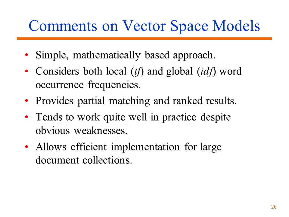 Comments on Vector Space Models