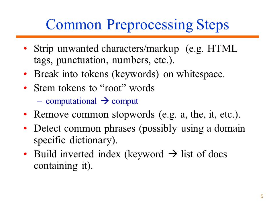 Common Preprocessing Steps
