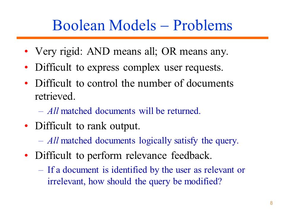 Boolean Models  Problems