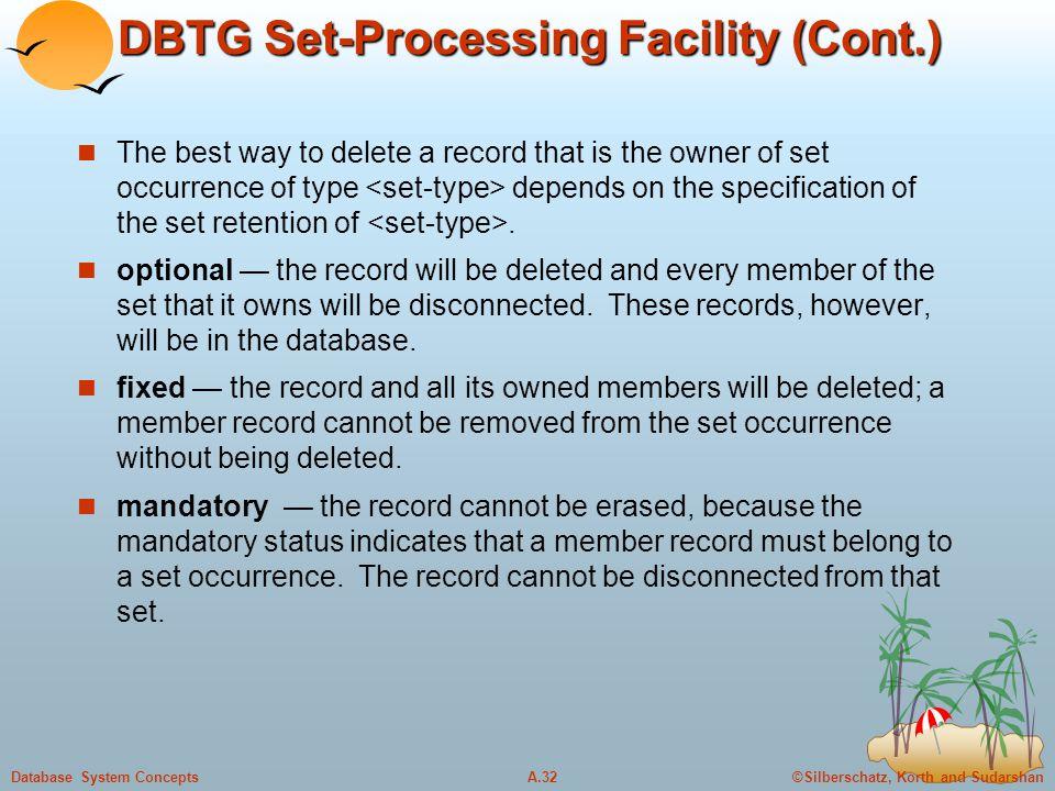 DBTG Set-Processing Facility (Cont.)
