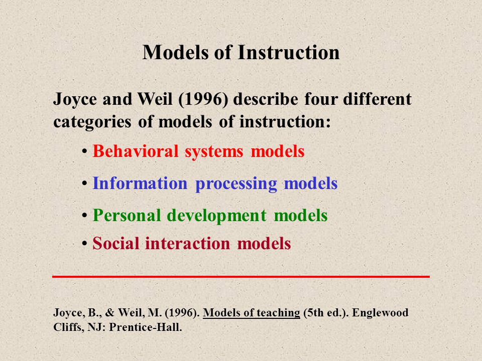 Models of Instruction Joyce and Weil (1996) describe four different categories of models of instruction: