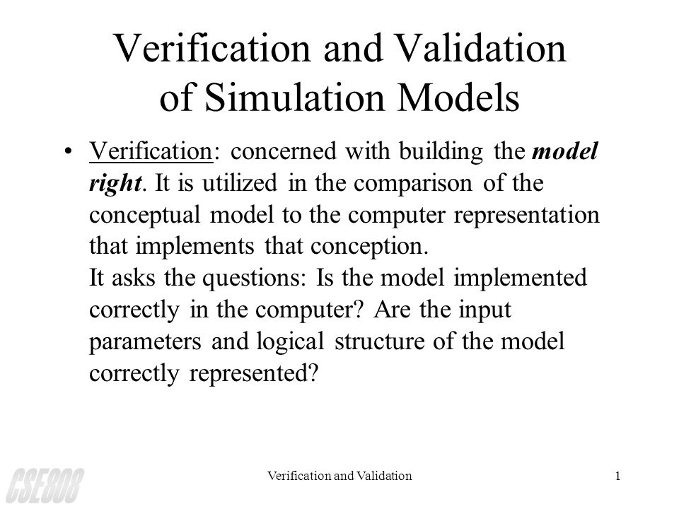 Verification and Validation of Simulation Models