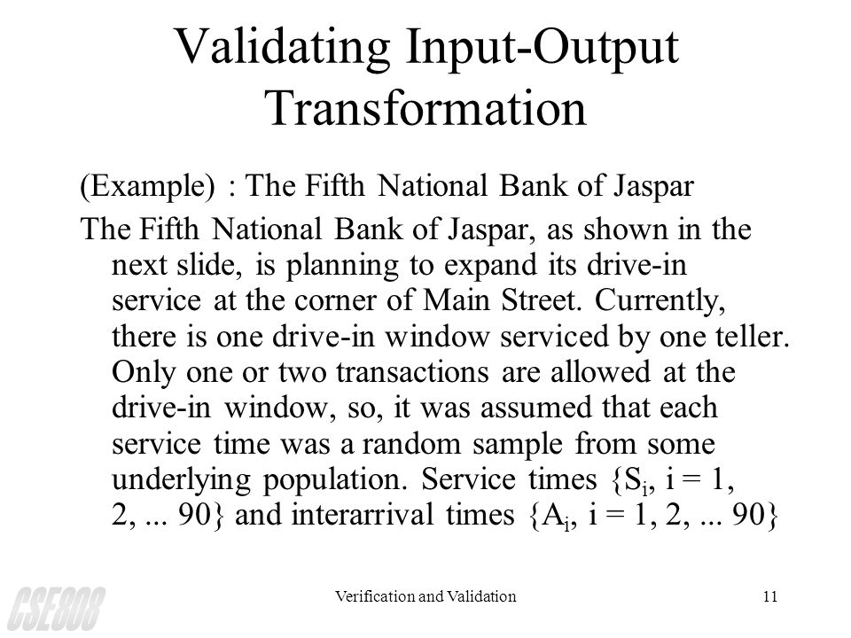 Validating Input-Output Transformation