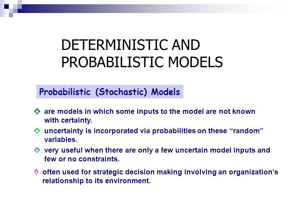 DETERMINISTIC AND PROBABILISTIC MODELS