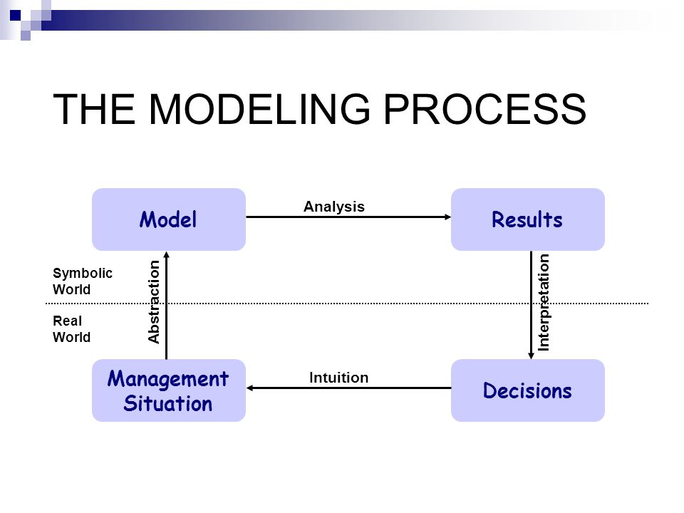 THE MODELING PROCESS Model Results Management Situation Decisions