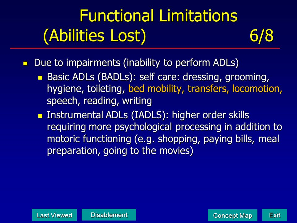 Functional Limitations (Abilities Lost) 6/8