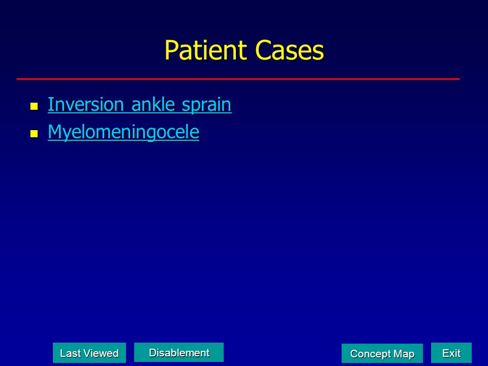 Patient Cases Inversion ankle sprain Myelomeningocele Last Viewed
