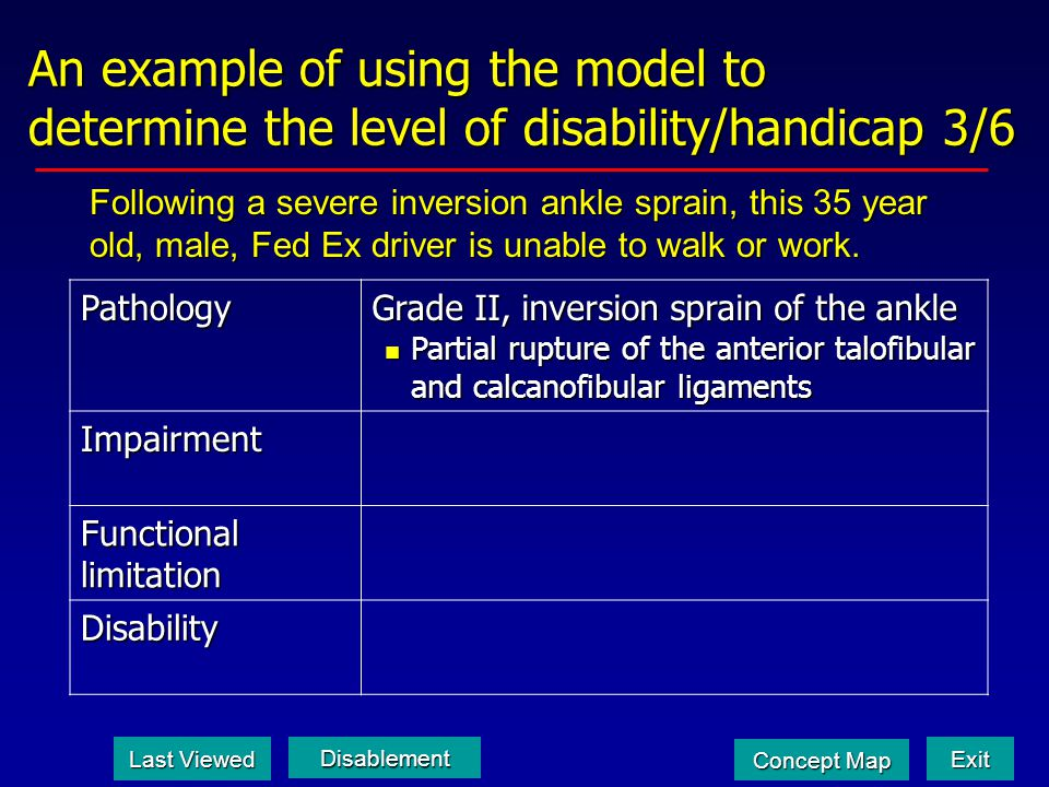 An example of using the model to determine the level of disability/handicap 3/6