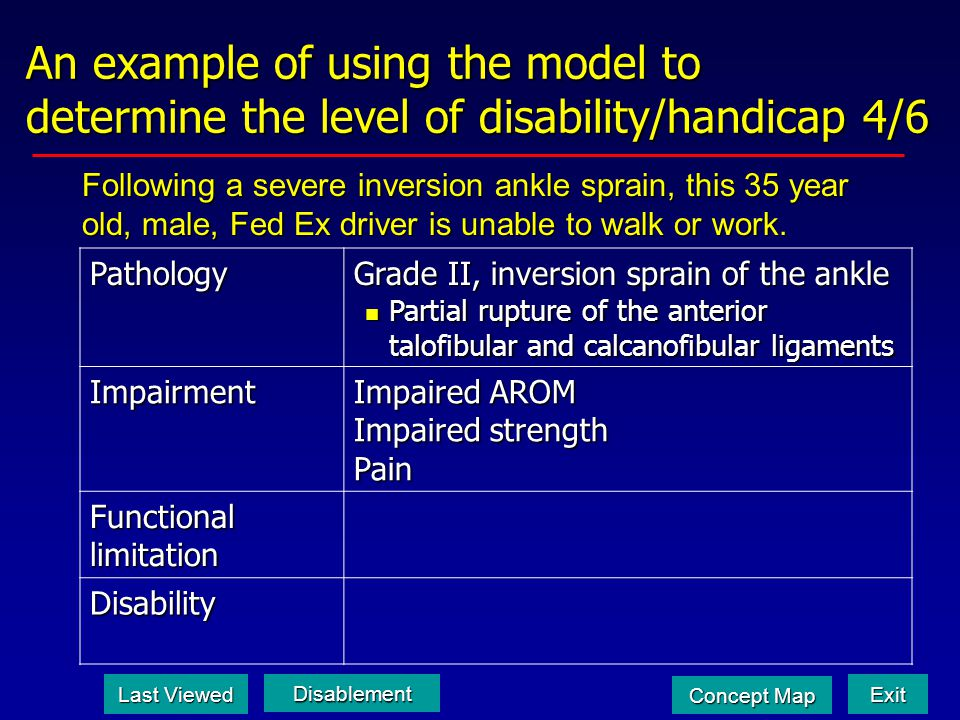 An example of using the model to determine the level of disability/handicap 4/6