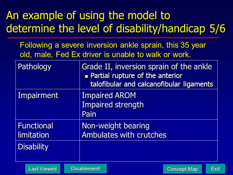 An example of using the model to determine the level of disability/handicap 5/6