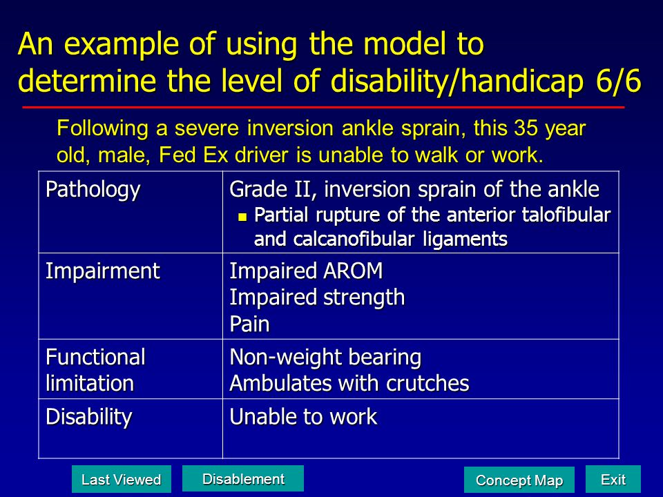 An example of using the model to determine the level of disability/handicap 6/6