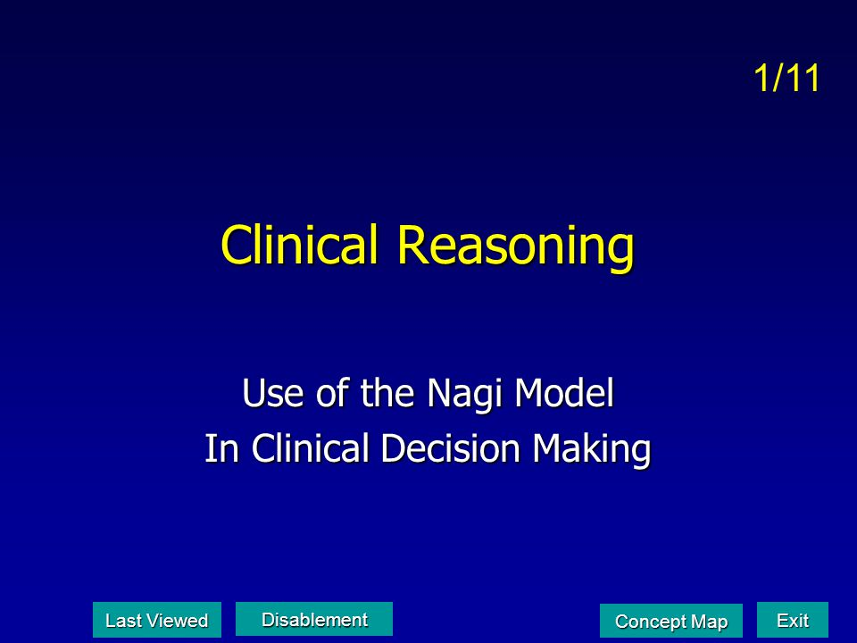 Use of the Nagi Model In Clinical Decision Making