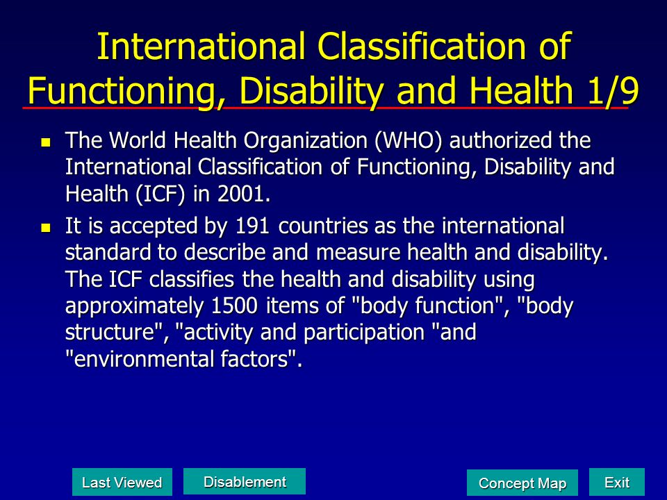 International Classification of Functioning, Disability and Health 1/9