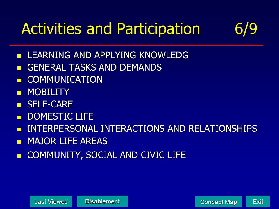 Activities and Participation 6/9