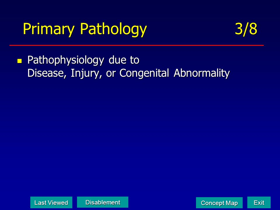 Primary Pathology 3/8 Pathophysiology due to Disease, Injury, or Congenital Abnormality.