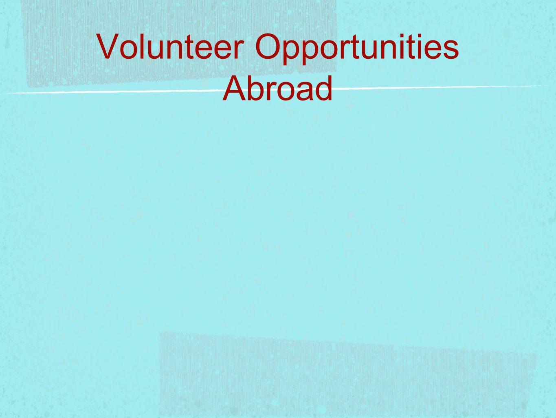 Volunteer Opportunities Abroad