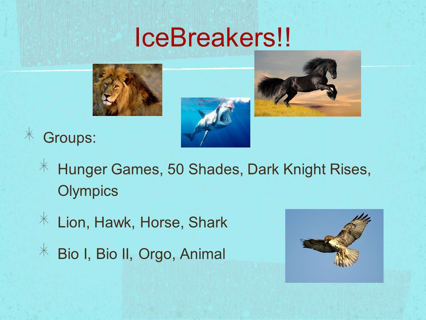 IceBreakers!!Groups: Hunger Games, 50 Shades, Dark Knight Rises, Olympics. Lion, Hawk, Horse, Shark.