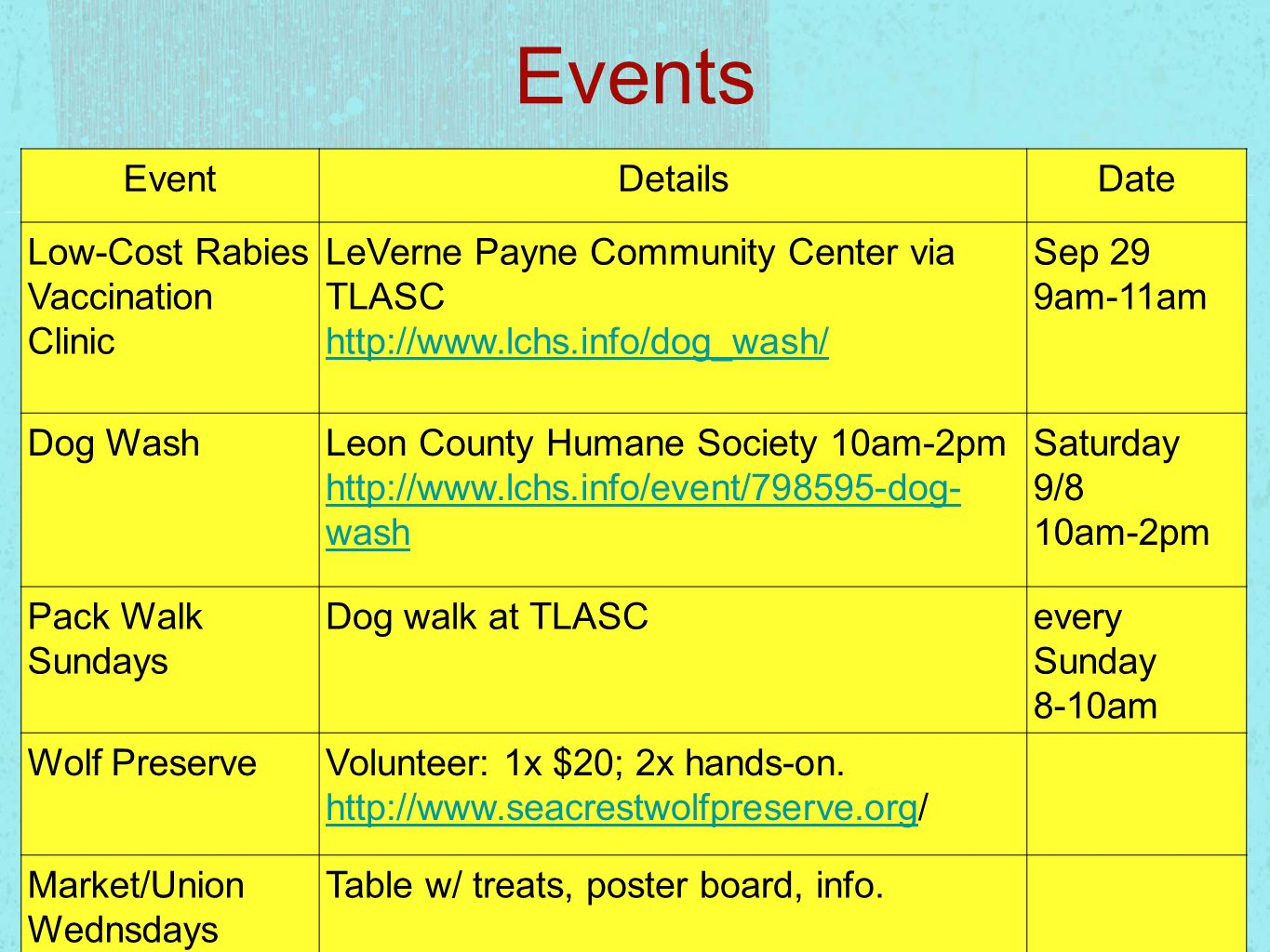 Events Event Details Date Low-Cost Rabies Vaccination Clinic