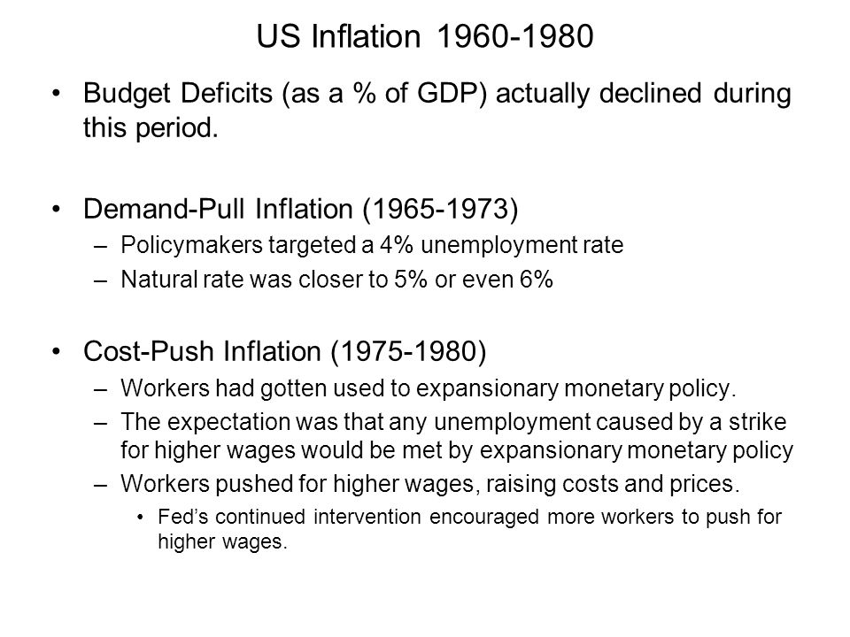 US Inflation 1960-1980 Budget Deficits (as a % of GDP) actually declined during this period. Demand-Pull Inflation (1965-1973)