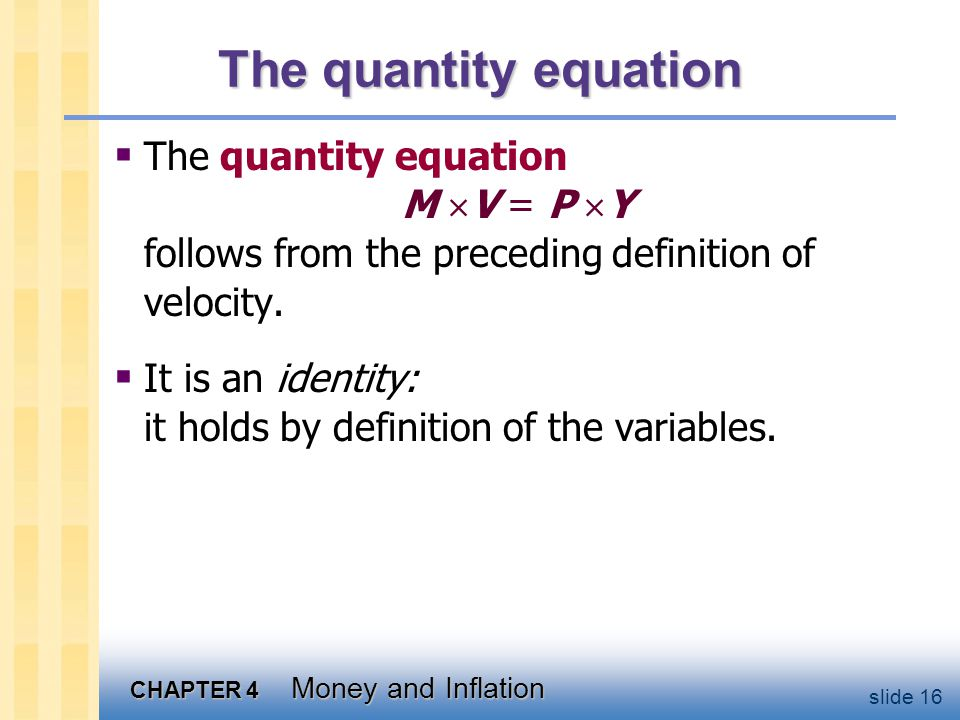 Money demand and the quantity equation