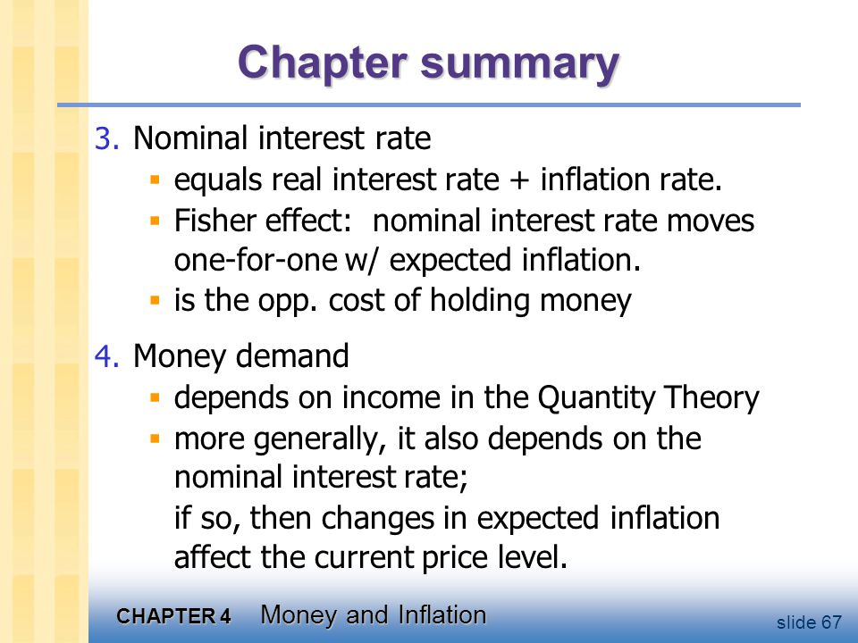 Chapter summary Costs of inflation