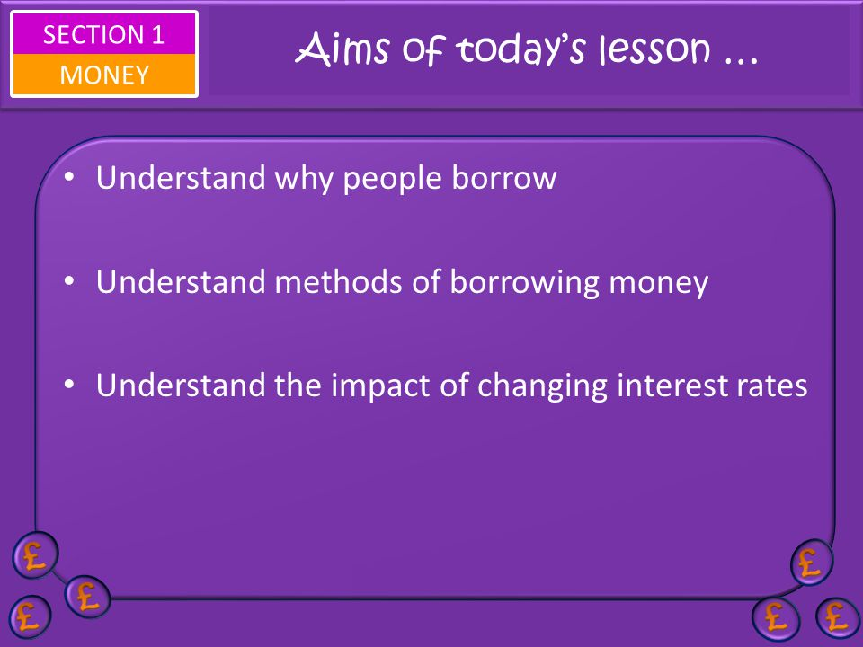 Aims of today's lesson …