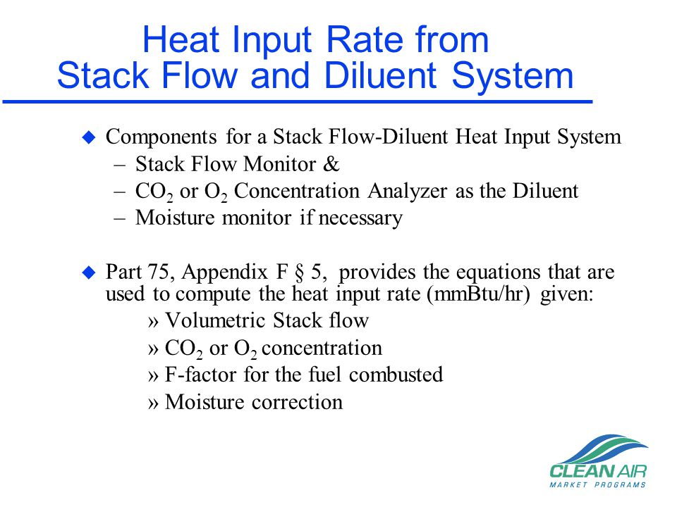 Heat Input Rate from Stack Flow and Diluent System