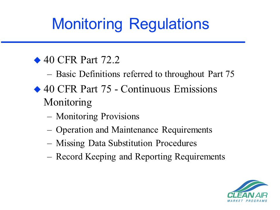 Monitoring Regulations