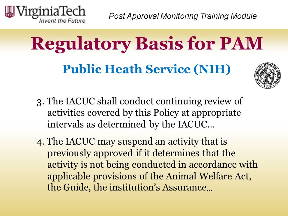 Regulatory Basis for PAM