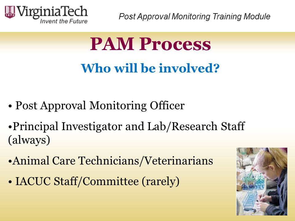 PAM Process Who will be involved Post Approval Monitoring Officer