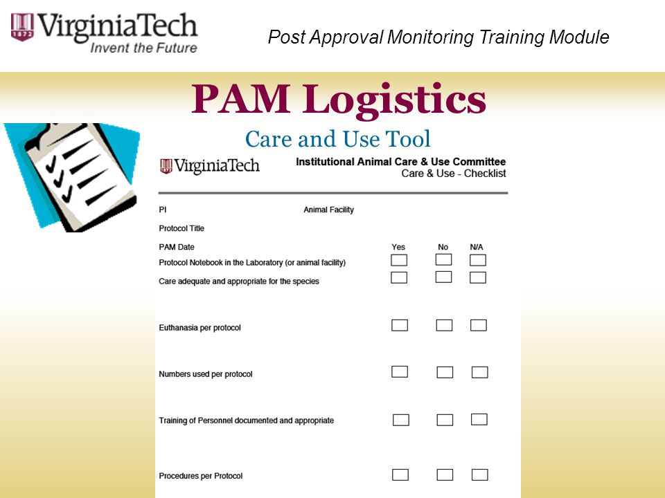 PAM Logistics Care and Use Tool