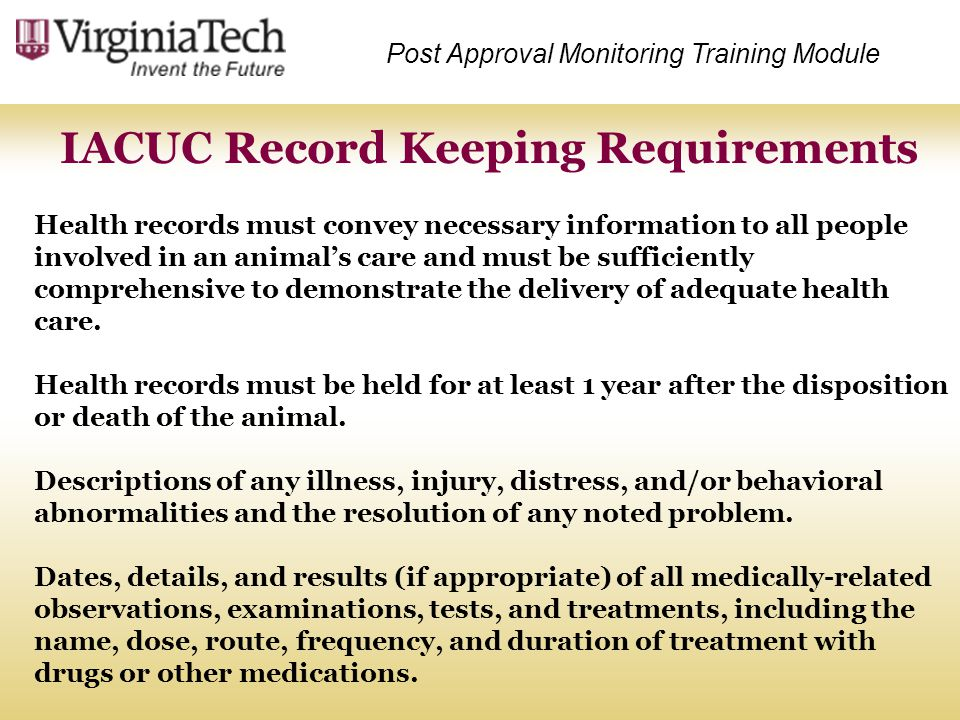 IACUC Record Keeping Requirements