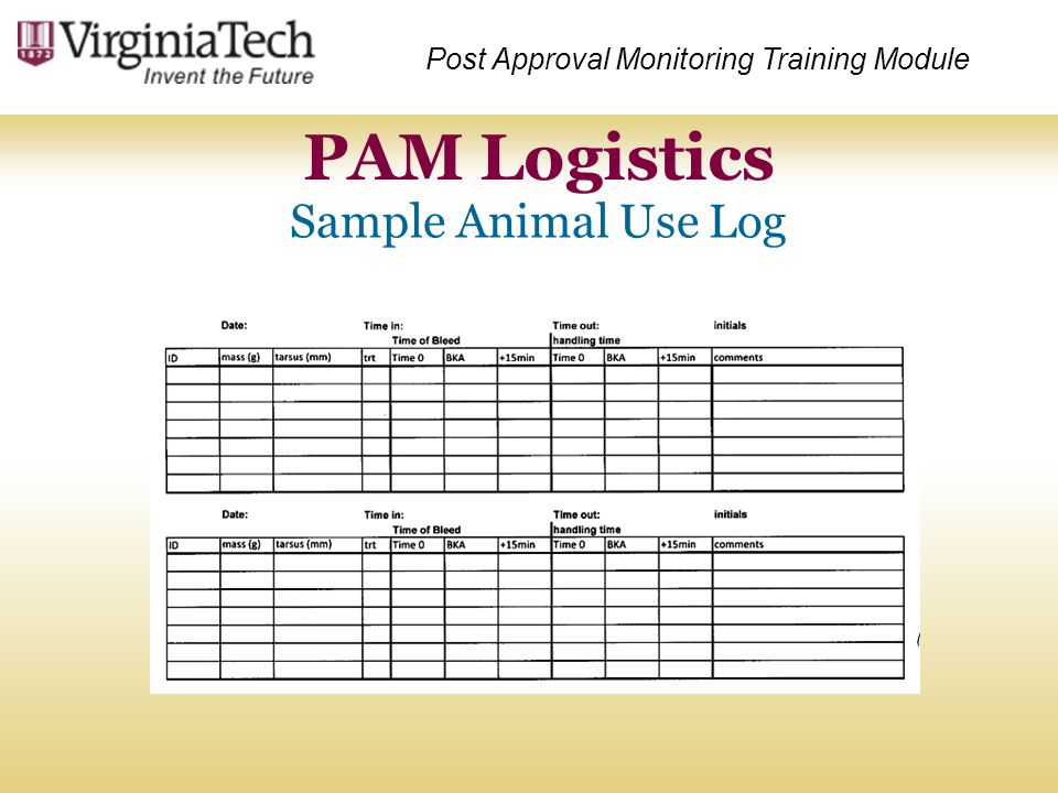 PAM Logistics Sample Animal Use Log