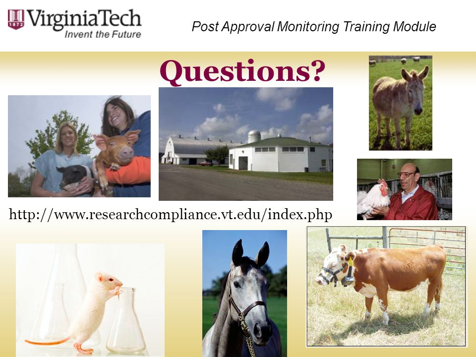 Questions http://www.researchcompliance.vt.edu/index.php