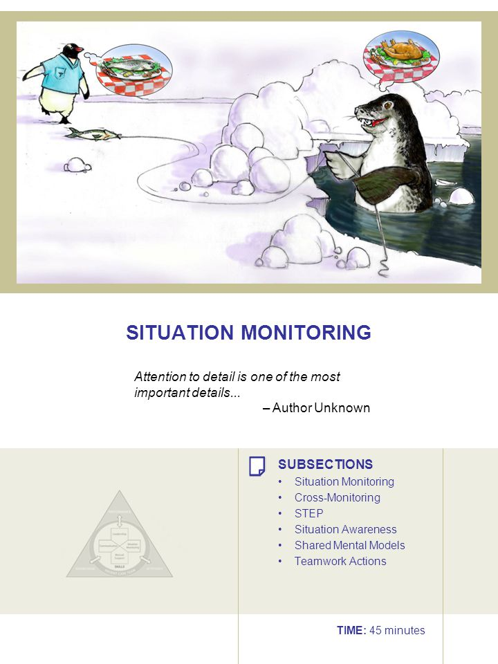 SITUATION MONITORING Attention to detail is one of the most important details... – Author Unknown.