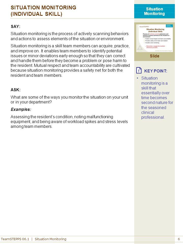 SITUATION MONITORING (INDIVIDUAL SKILL)