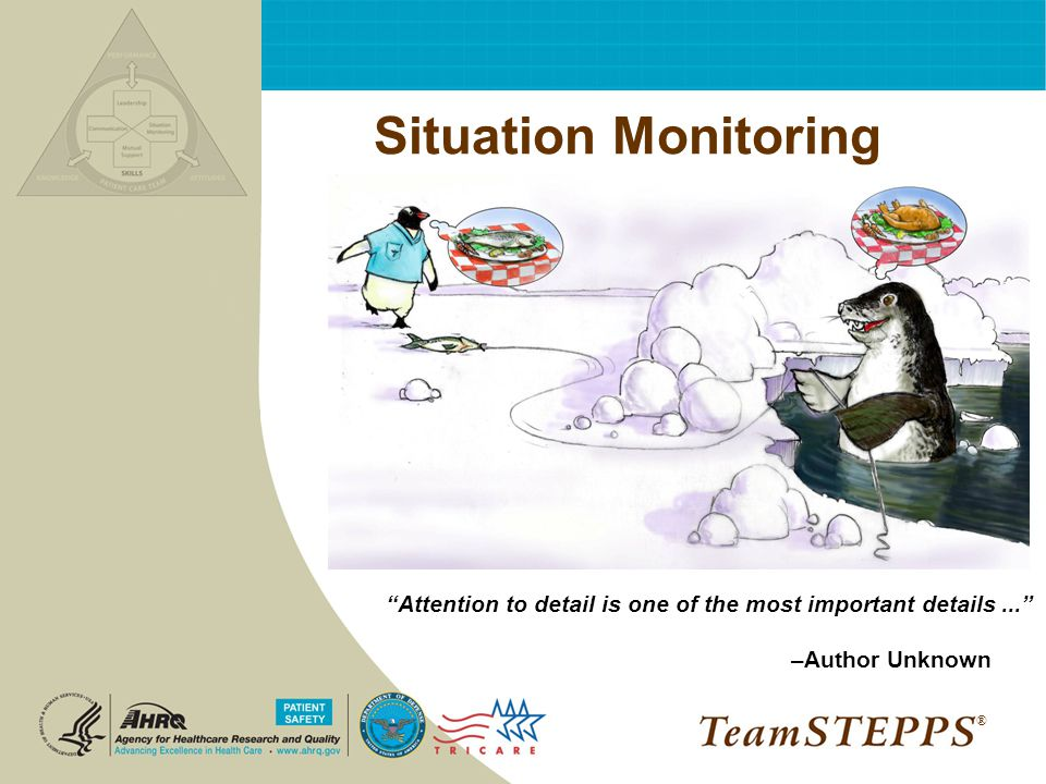 Situation Monitoring Attention to detail is one of the most important details ... –Author Unknown.