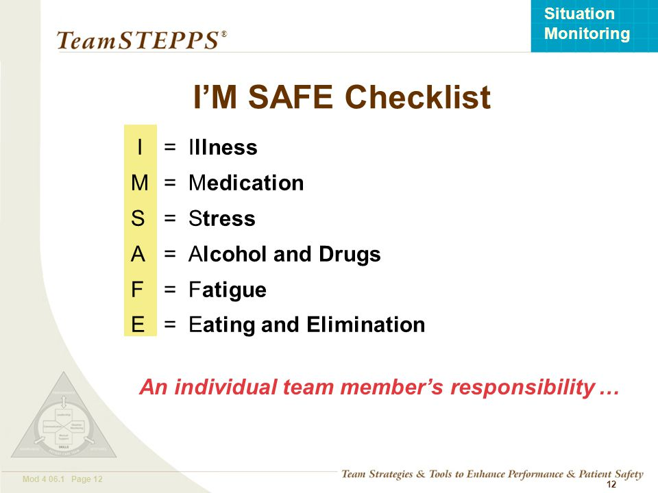 I'M SAFE Checklist I = Illness M = Medication S = Stress