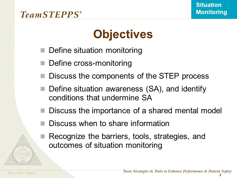 Objectives Define situation monitoring Define cross-monitoring