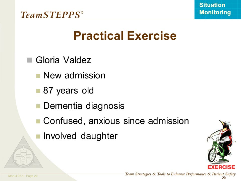 Practical Exercise Gloria Valdez New admission 87 years old