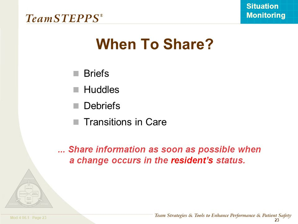 When To Share Briefs Huddles Debriefs Transitions in Care