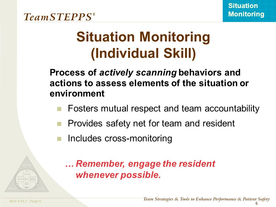 Situation Monitoring (Individual Skill)