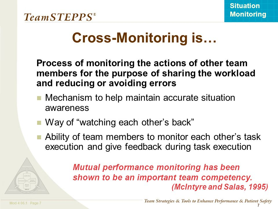 Cross-Monitoring is… Process of monitoring the actions of other team members for the purpose of sharing the workload and reducing or avoiding errors.